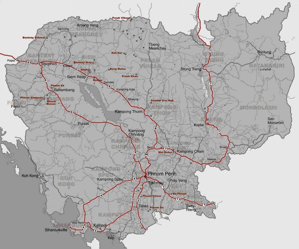 TRAJETS BUS,TAXI,BATEAU DE PHNOM PENH carte-route-site