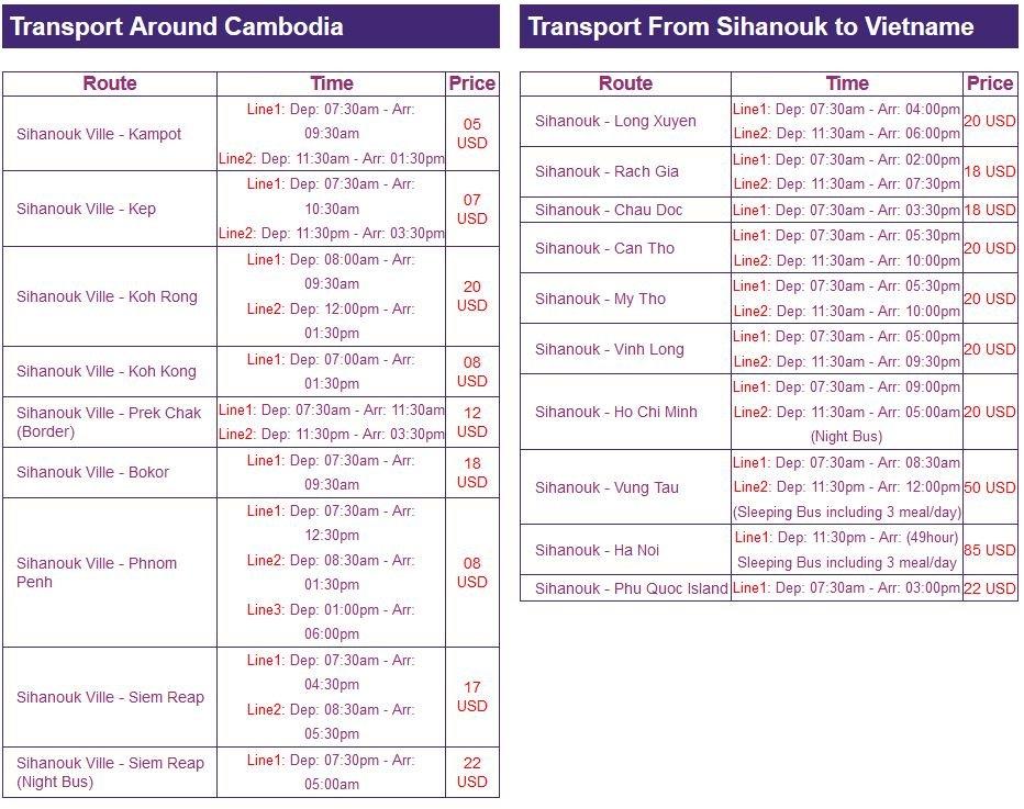 horaire de Sihanoukville